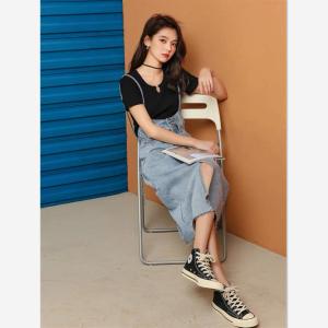 FS87901# 韩版夏季新款女洋气减龄小众复古港风牛仔吊带背带裤 服装批发女装货源