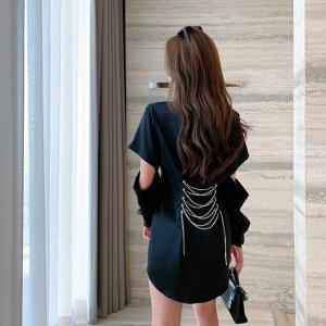 FS88114# 收腰显瘦气质连衣裙设计感小众女神范短袖衬衫裙子 服装批发女装货源