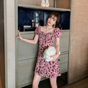 FS88145# 性感粉色豹纹连衣裙显瘦女夏方领碎花裙子收腰气质短裙 服装批发女装货源