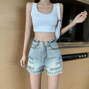 FS88046# 高腰铆钉重工破洞牛仔裤做旧复古牛仔热裤女 服装批发女装货源