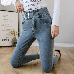 FS88120# 洋气高腰牛仔裤女显瘦显高秋季新潮提臂修身九分紧身小脚裤 服装批发女装货源