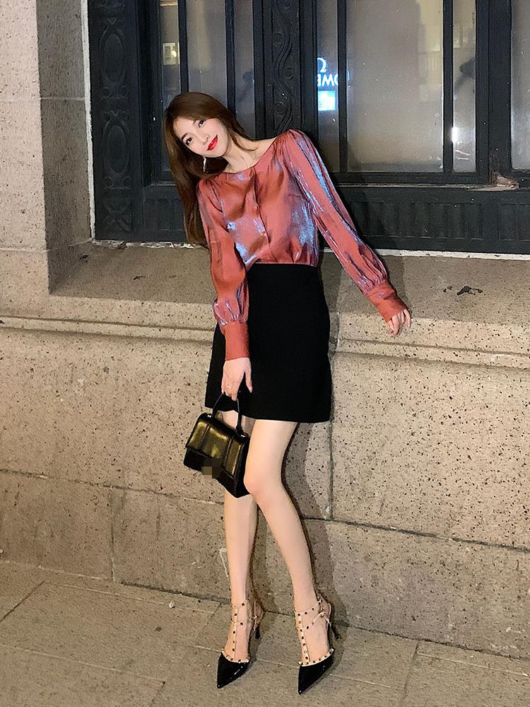 粉丝领劵衬衫减15一套减30阿姐家人鱼姬长袖衬衫+半身裙两件套-别致依语-