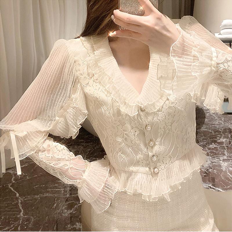 名媛气质衬衫女上衣女2020秋装洋气设计感很仙长袖打底衫-小妖精-