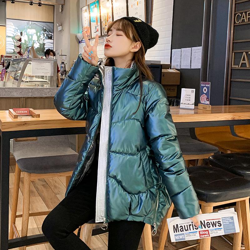 实拍短款棉衣女2020冬季新款韩版宽松亮面羽绒服棉服时尚外套-靓衣轩羽绒服-