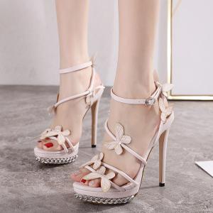X-24225# 甜美风!手工花蝴蝶新款网红同款13CM超高跟水台凉鞋日常款 女鞋批发鞋子批发