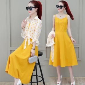 FS92240# 夏季雪纺中长款气质女式短袖连衣裙两件套吊带修身显瘦女装