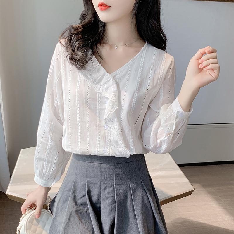 实拍 2020秋新款荷叶边上衣气质设计感小众白色长袖V领衬衫女-粉黛尔-