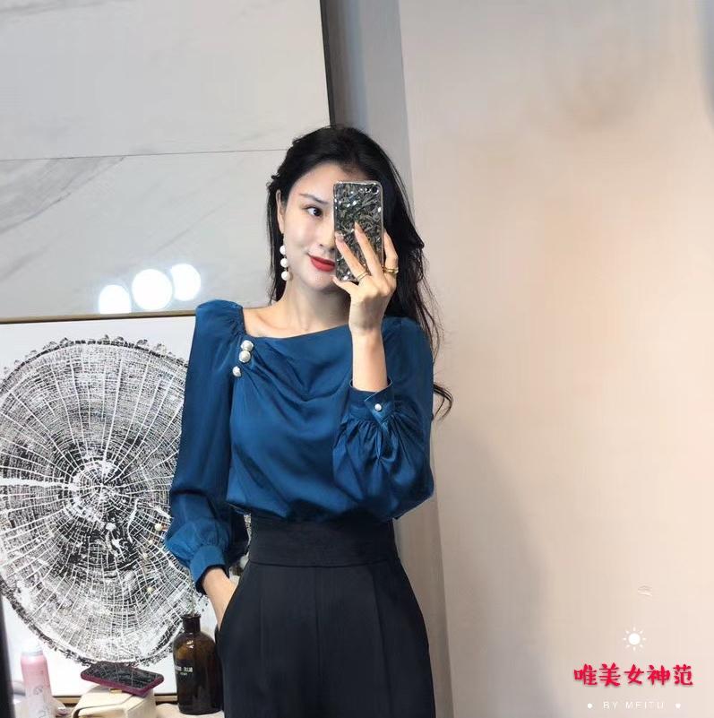 缎面仿真丝2020年秋季新款名媛气质衬衫赫本风轻熟风洋气上衣女潮-唯美女神范-