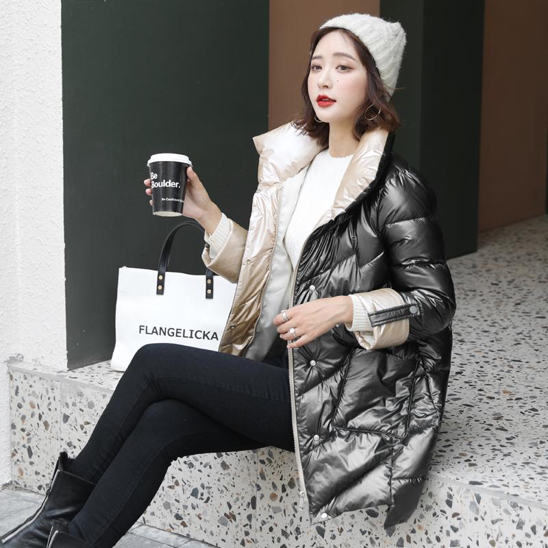 实拍欧洲站立领中长款棉衣女亮面漆皮面包服冬季特卖爆版羽绒棉服-靓衣轩羽绒服-