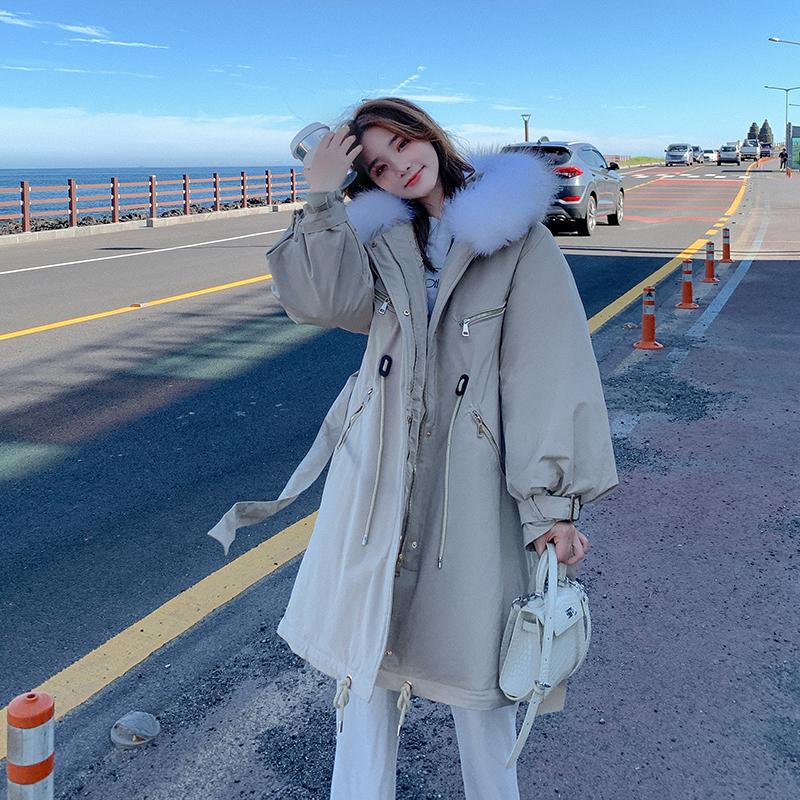 实拍新款羽绒服女韩版中长款大码女装收腰派克服风衣棉衣外套潮-千姿秀羽绒服-