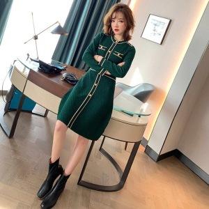 FS88802# 气质包臀裙子连衣裙女装春季新款名媛时尚绿色修身显瘦针织裙 服装批发女装直播货源