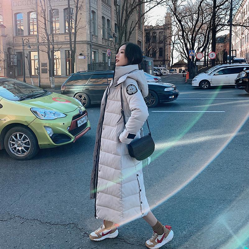 实拍韩国东大门加长款羽绒服棉服女2020收腰显瘦棉衣棉袄连帽外套-靓衣轩羽绒服-