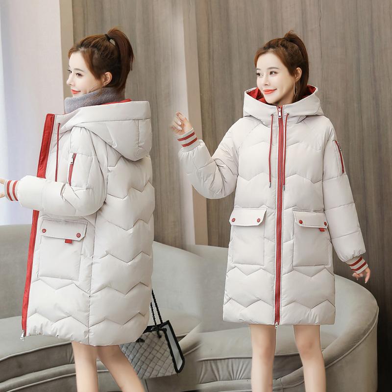 实拍2020年新款羽绒服女韩版宽松大码女装冬装小清新中长款棉服-千姿秀羽绒服-