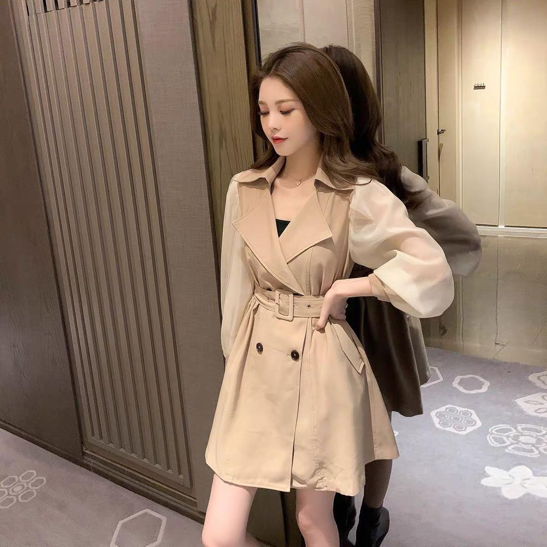2020韩版秋季新款西装领袖子拼接假两件腰带西装中长款连衣裙-哆来咪R服饰-