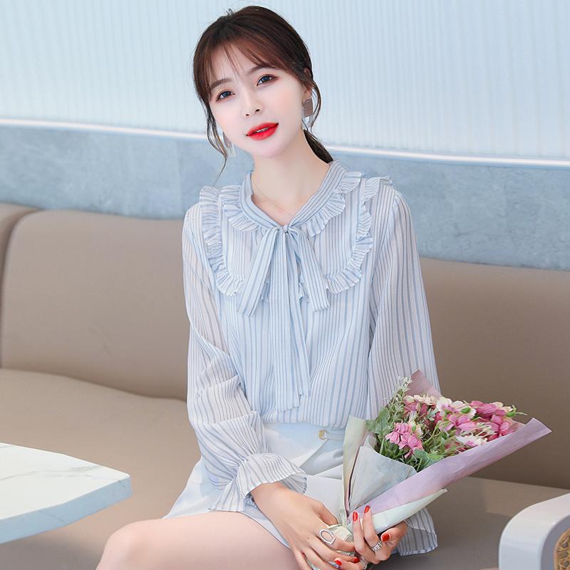 实拍雪纺衫女长袖2020秋新款条纹衬衫很仙的心机上衣超仙设计感-韩妮尔-