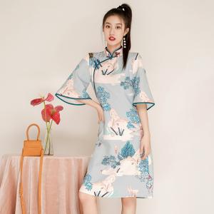 FS98267# 秋冬新款旗袍年轻款少女中国风长袖时尚连衣裙 服装批发女装直播货源