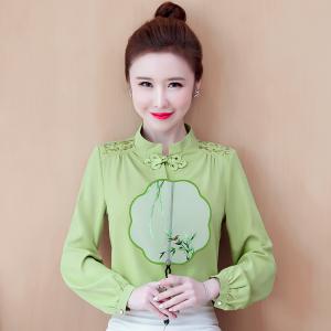YF42873# 真丝缎面衬衫女长袖春季新款百搭韩版中国风刺绣缎面上衣