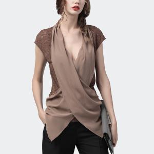 FS89172# 性感v领小衫女短袖拼接衬衫春夏新款洋气显瘦小衫 服装批发女装直播货源