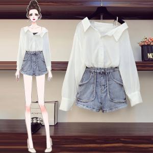 FS94233# 大码女装秋装新款衬衫小众白色长袖衬衣烫钻牛仔裤两件套 服装批发女装直播货源