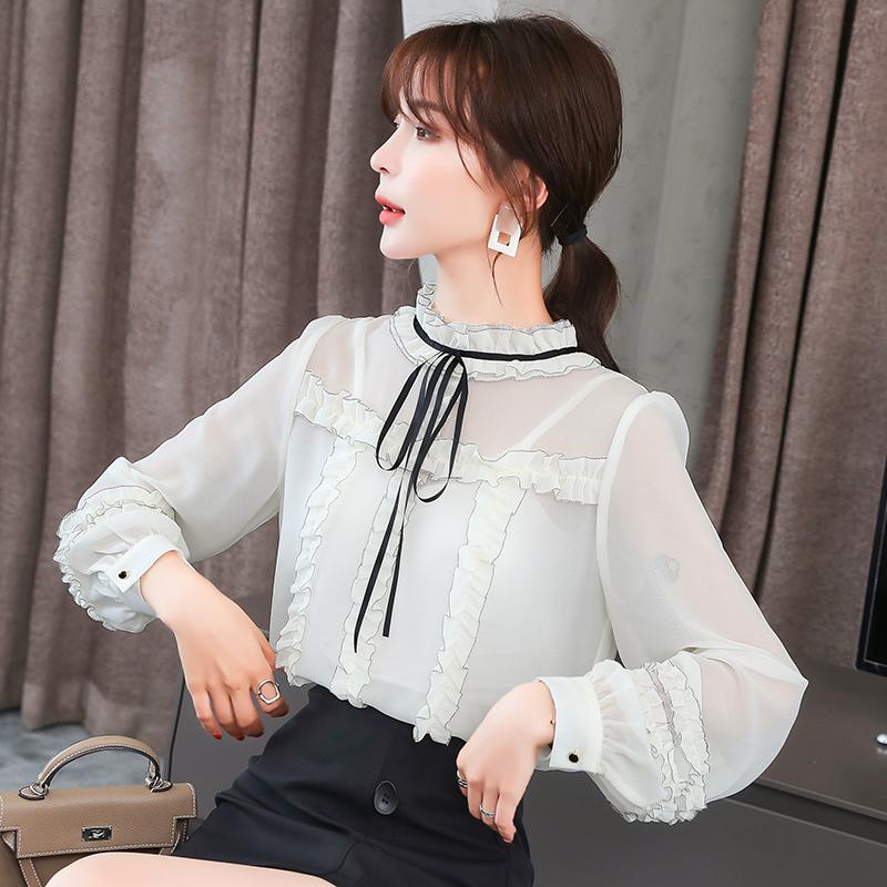 实拍小视频2020秋装新款韩版黑白拼色镶边木耳边雪纺衫女上衣-凤儿服饰-