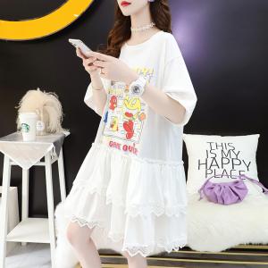FS89588# 韩版卡通短袖t恤裙女中长款夏季新款宽松体恤连衣裙 服装批发女装直播货源