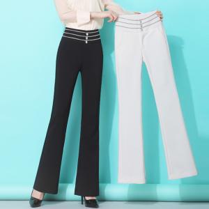 YF43707# 秋冬新款韩版高腰显瘦铜氨丝垂感阔腿裤职业休闲西装