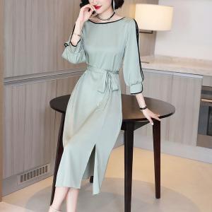 FS94428# 缎面真丝连衣裙夏装2020新款女七分袖镂空蕾丝系带收腰中长款裙子