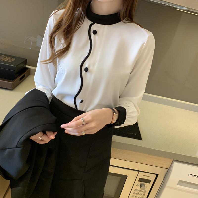 现货+实拍2020秋季新款设计感小众洋气雪纺衫长袖上衣减龄韩版-伊莱美服饰-