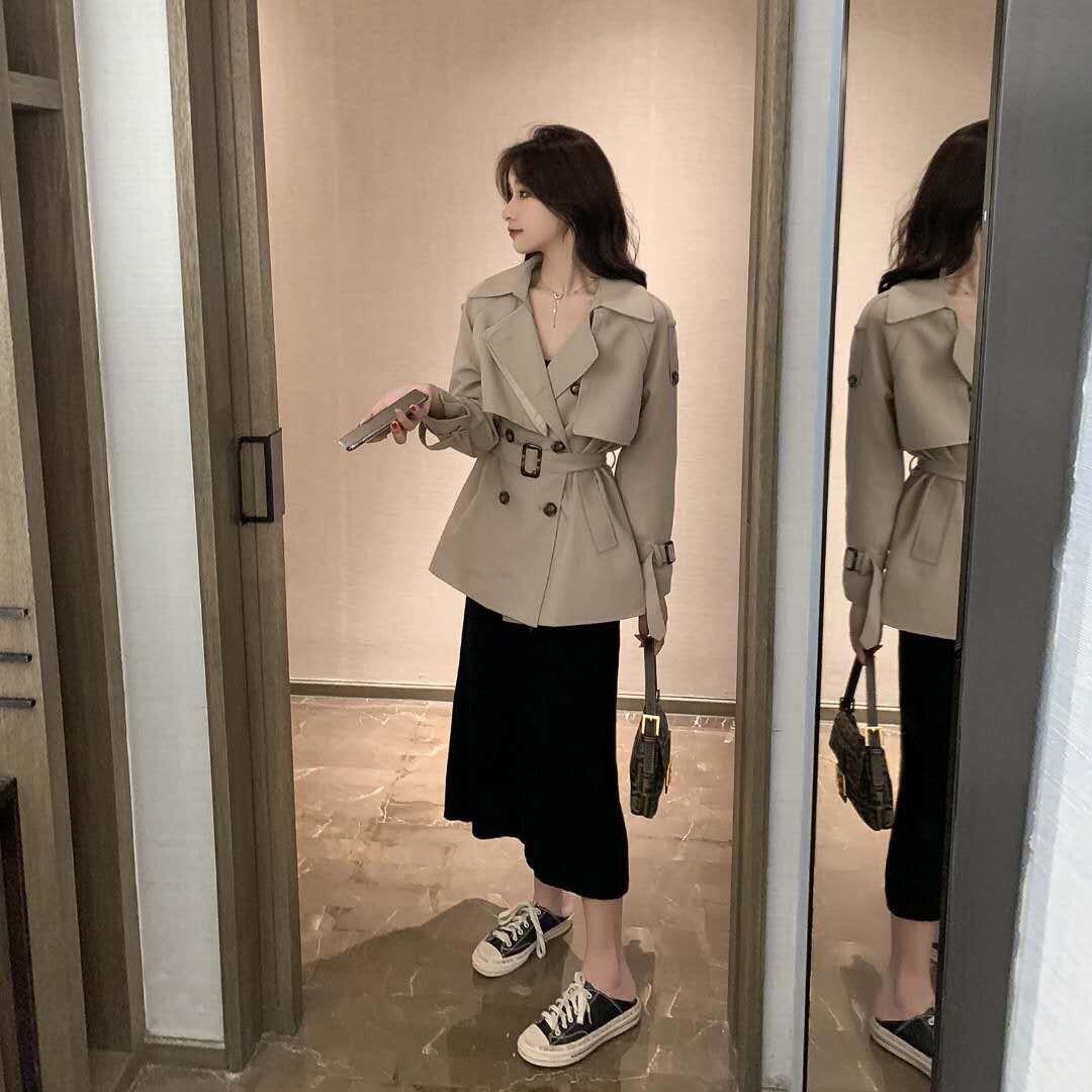 提前加购 8月17号10点上新韩版系带双排扣小个子短风衣E8329-桐桐服饰-