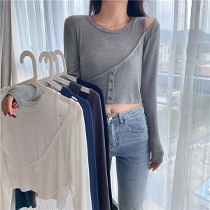 FS89990# ins修身露肩不规则设计小心机打底上衣T恤女 服装批发女装直播货源