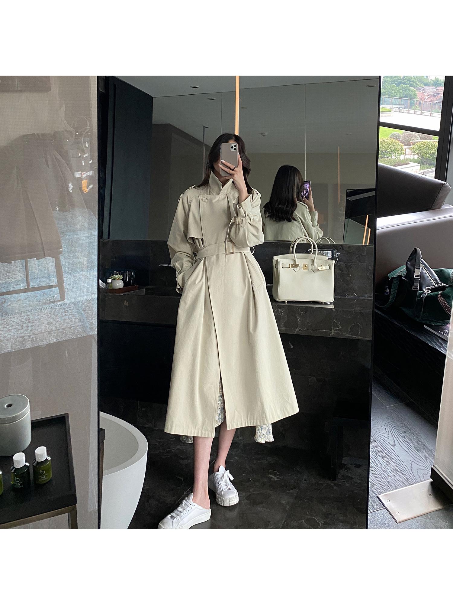 小玉酱秋日初始风衣2020新款中长款韩版米白色宽松气质薄外套-欧菲迪-