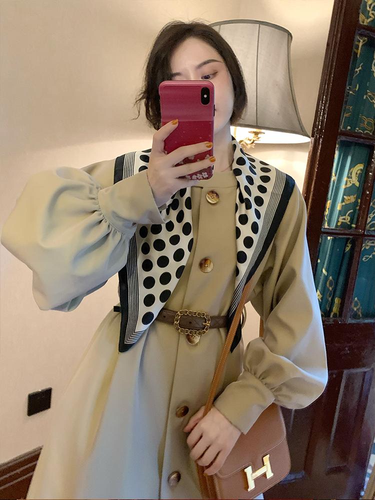 大Eees 赫本风气质流行高端大气韩版宽松中长款小个子风衣外套女-欧菲迪-