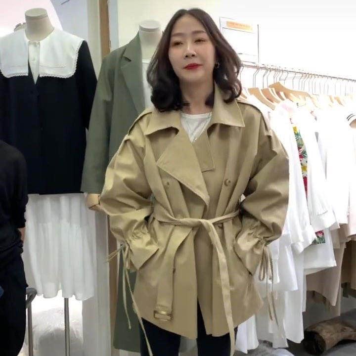 现货 双排扣风衣女韩版短款收腰气质短款外套-韩C-
