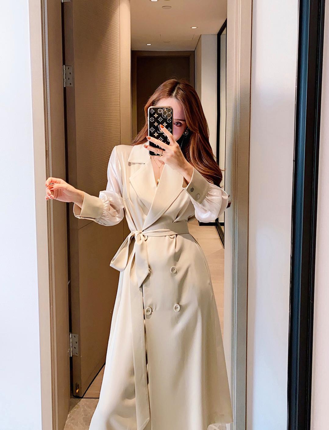董小姐高端定制风衣女2020新款中长款秋装薄外套欧根纱袖醋酸大衣-衣佐衣依-