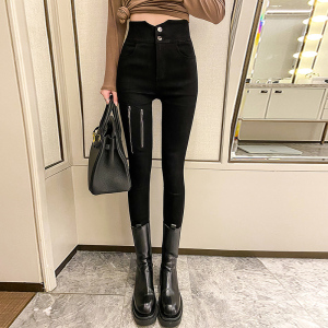 FS89761# 潮流气质超高腰牛仔裤拉链设计显瘦显腿长黑色小脚打底裤女 服装批发女装直播货源