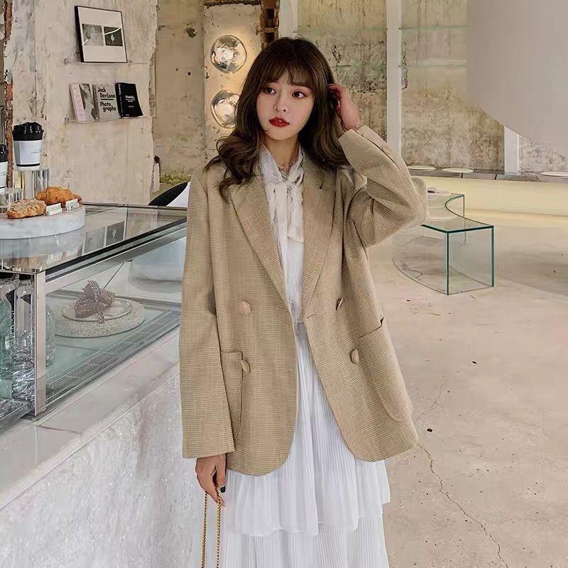 2020新款春秋女韩版网红显瘦宽松短款小西装外套-茜米服饰-
