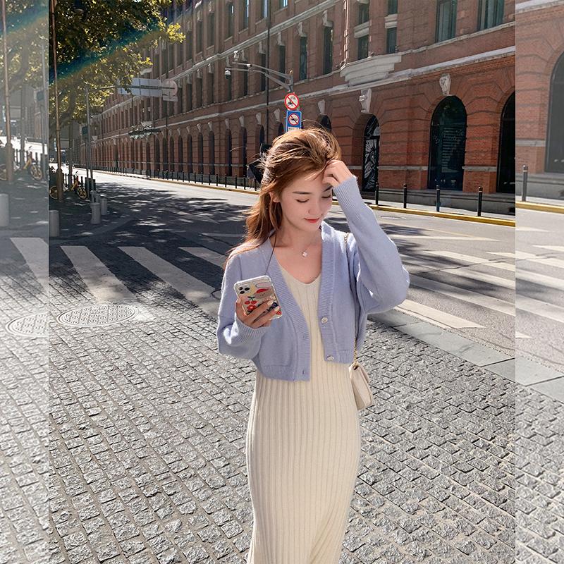 秋季套装女韩版2020年新款时尚气质显瘦洋气毛衣裙子两件套-安东妮网红定制-