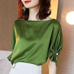 YF53689# 丝光缎面醋酸面料上衣短袖宽松显瘦夏季新款轻奢垂感衬衫女
