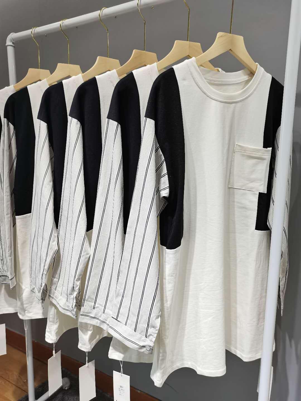 COOKADAILY_甜酷解构撞色拼接T裙圆领设计感撞色上衣宽松长袖卫衣-H家服饰-
