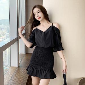FS92503# 新款韩版女装性感V领露肩吊带包臀显瘦连衣裙 服装批发女装直播货源