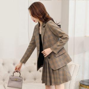 FS91189#  格子西装套装女秋装年新款韩版时尚减龄气质洋气百褶裙两件套 服装批发女装直播货源