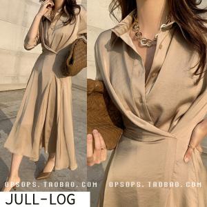 FS91433# 新款轻奢女装夏季法式复古真丝缎面衬衫连衣裙已订 服装批发女装直播货源