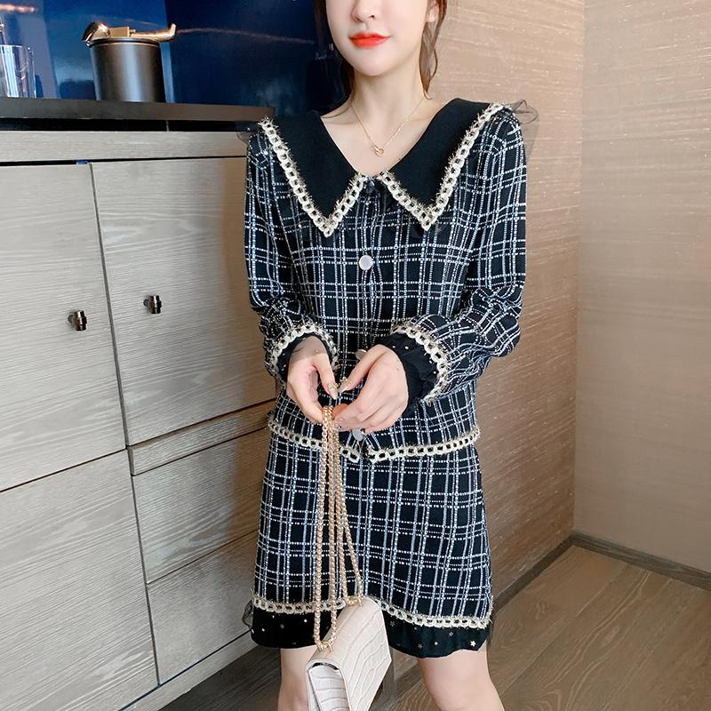 实拍时尚小香风套装2020秋新款女装长袖上衣减龄显瘦半身裙两件套-唯美嘉服饰-