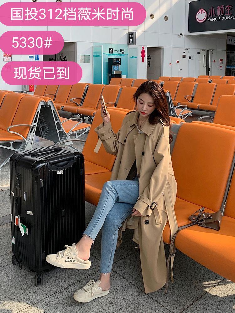 经典纯色气质风衣女2020新款中长款韩版宽松小个子流行大衣外套-薇米时尚衣馆-