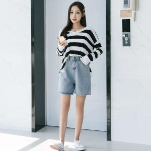 CX4222# 最便宜服装批发 短裤女夏装新款宽松高腰显瘦直筒阔腿休闲五分牛仔裤