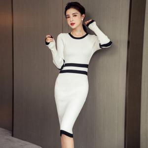 FS91695# 秋季新款韩版气质显瘦包臀针织连衣裙 服装批发女装直播货源