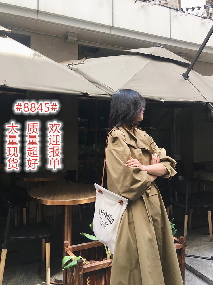 工装风衣女2020新款中长款过膝外套卡其色气质大衣外套-靓品女装-