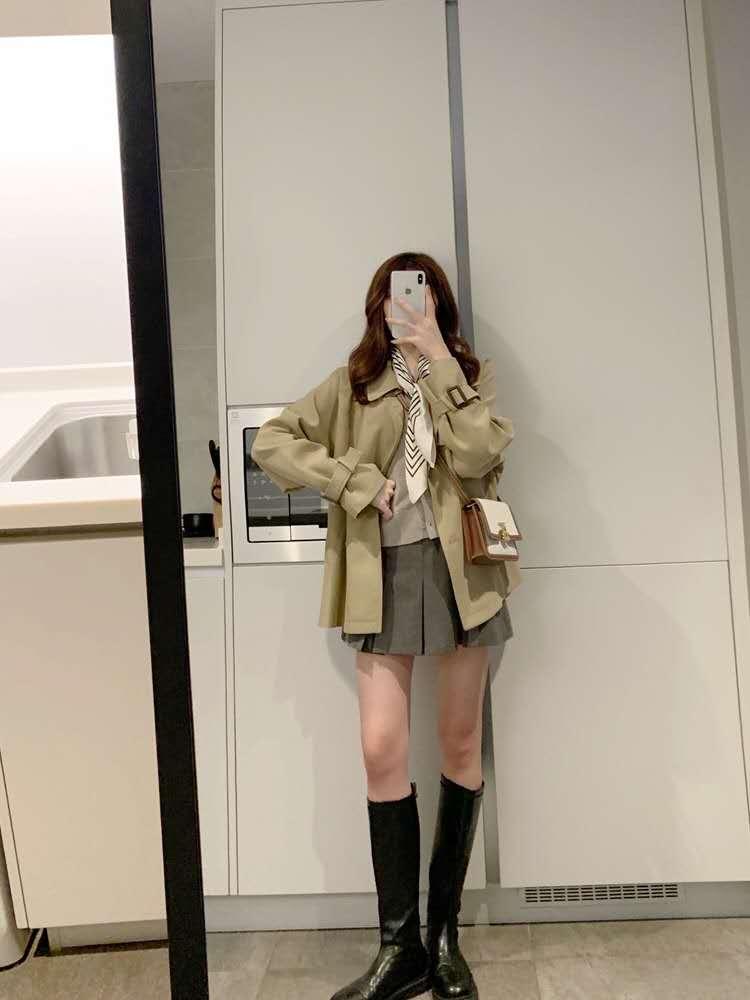 楚楚 卡其色风衣女小个子中长款 气质垂感韩版宽松工装外套秋季-诺娜印象GO-