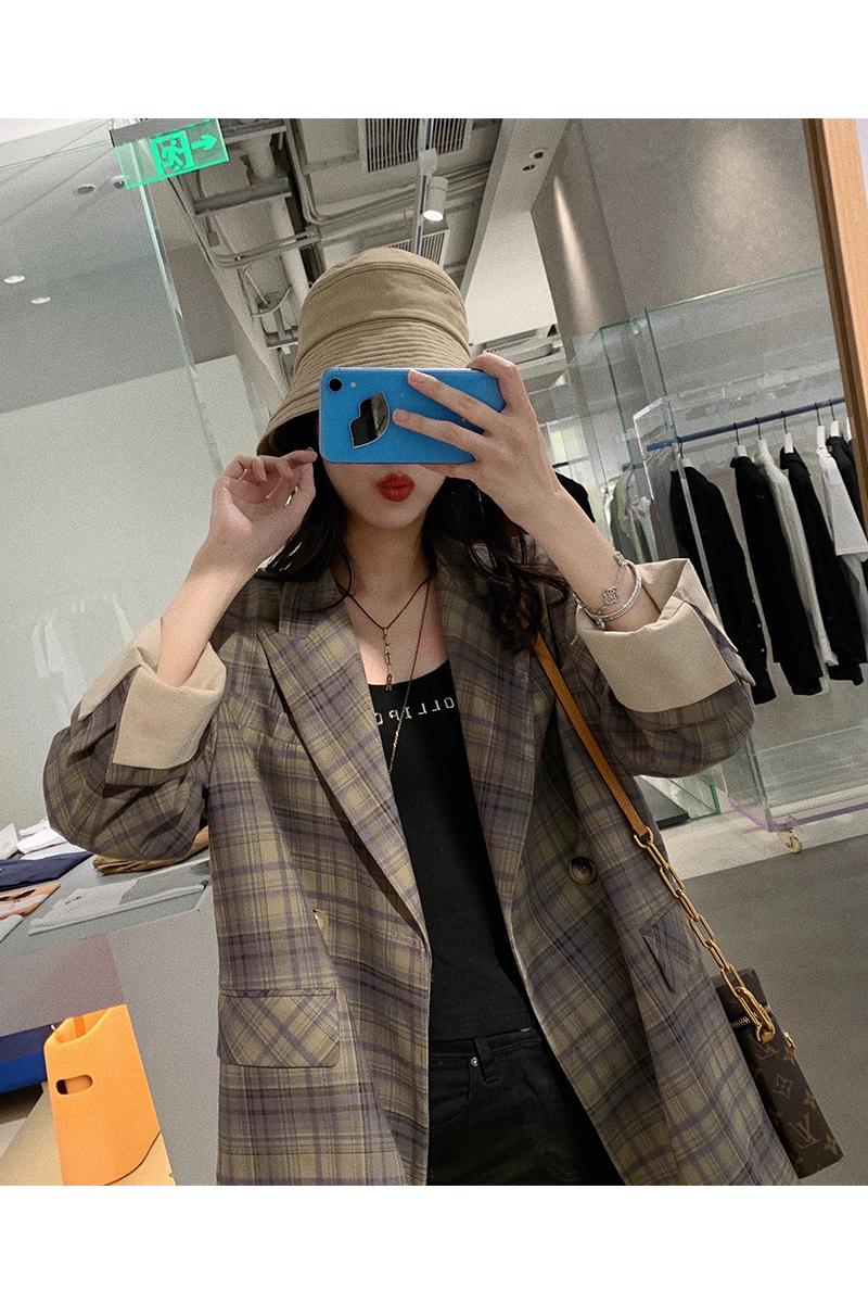 张贝贝ibell2020年新款复古格子高级感西装外套女设计感小众上衣-奈看two-