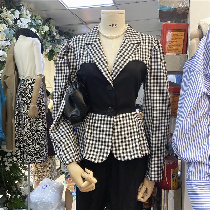 复古格子拼接衬衫女秋季设计感ins韩版两粒扣收腰显瘦长袖衬衣-女王范儿-